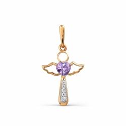 Золотая подвеска Ангел с аметистом, фианитами