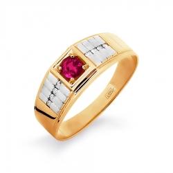 Т141046197 мужское золотое кольцо с рубином и бриллиантом