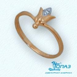 Детское золотое кольцо Цветок с фианитом