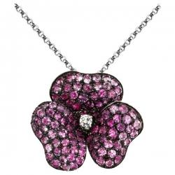Колье с бриллиантом и розовыми сапфирами из белого золота