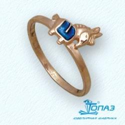 Детское золотое кольцо Лошадка с эмалью