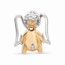 Детская золотая подвеска в виде ангелочка