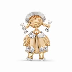 Детская золотая подвеска в виде девочки