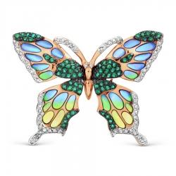 Золотая брошка Бабочка с изумрудом и бриллиантом