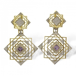 Серьги из золота 750 пробы с бриллиантом