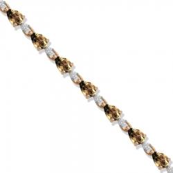Золотой браслет с раухтопазом и фианитами