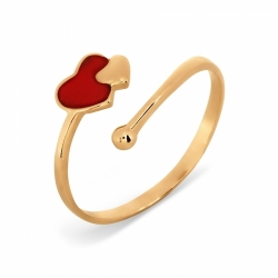Золотое кольцо Сердце с эмалью