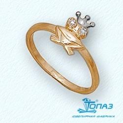 Детское золотое кольцо Лягушка с фианитами