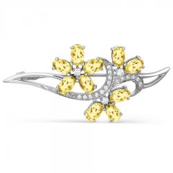 Брошка Цветы из белого золота с цитрином и фианитами
