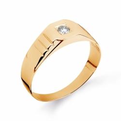 Золотое мужское кольцо с бриллиантом