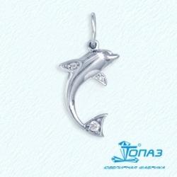 Подвеска Дельфин из белого золота с фианитами