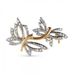 Золотая брошь Бабочки с бриллиантами