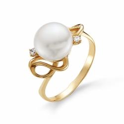 Золотое кольцо с белым жемчугом, фианитами