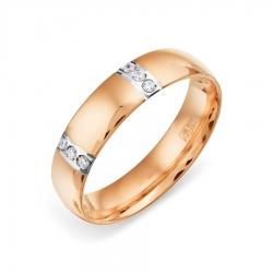 Обручальное золотое кольцо с фианитами