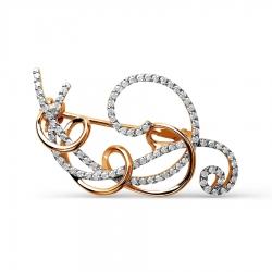 Золотая брошь Улитка с бриллиантами