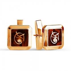 Золотые запонки с эмалью, фианитами