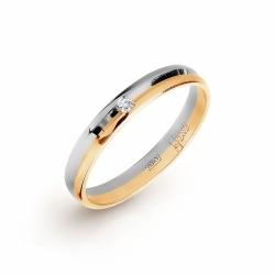 Кольцо обручальное из комбинированного золота с фианитом