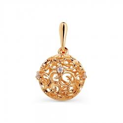 Золотая подвеска Ажурный шарик с фианитами