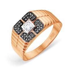 Мужское золотое кольцо с Swarovski Zirconia и черными бриллиантами