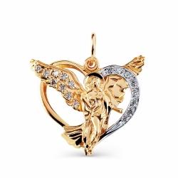 Золотая иконка Ангел с фианитами