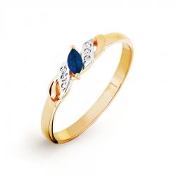 Золотое кольцо с сапфиром и бриллиантом
