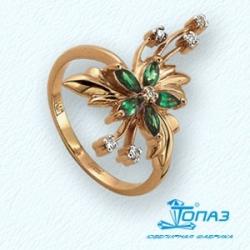Золотое кольцо Цветок с изумрудом, бриллиантами