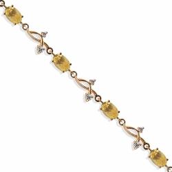 Золотой браслет с цитринами, фианитами