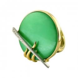 Эксклюзивное кольцо из золота с хризопразом и бриллиантами