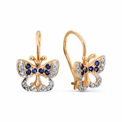 Детские золотые серьги Бабочки с сапфирами, бриллиантами