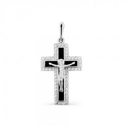 Крестик из белого золота с эмалью, фианитами