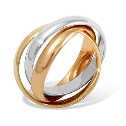 """Кольцо """"Тринити"""" из красного золота 585 без вставок"""