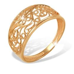 """Кольцо """"Филигрань"""" из красного золота 585 без вставок"""