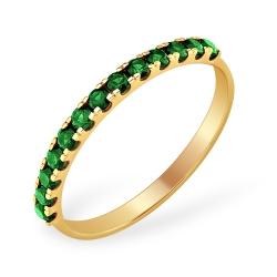 """Кольцо """"Дорожка"""" из красного золота 585 с изумрудами ГТ"""