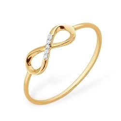 """Кольцо """"Бесконечность"""" из красного золота 585 с бриллиантами"""