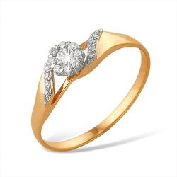 "Кольцо ""Малинка"" из красного золота 585 с бриллиантами"