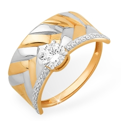 """Кольцо """"Фактурное"""" из красного золота 585 с фианитами, фианитами Swarovski"""