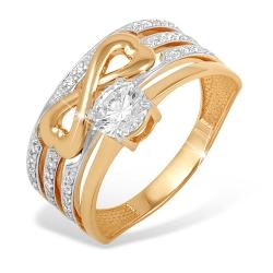 """Кольцо """"Бесконечность"""" из красного золота 585 с фианитами, фианитами Swarovski"""