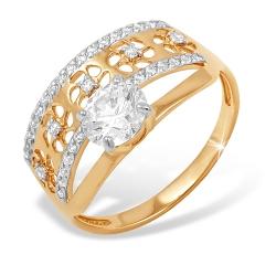 Кольцо из красного золота 585 с фианитами, фианитами Swarovski