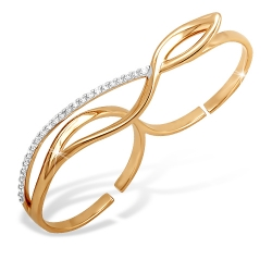 """Кольцо """"Фаланговое"""" из красного золота 585 с фианитами"""