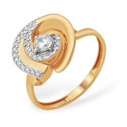 """Кольцо """"Фантазийное"""" из красного золота 585 с фианитами, фианитами Swarovski"""