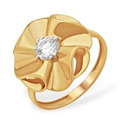"""Кольцо """"Цветочек"""" из красного золота 585 с фианитами Swarovski"""
