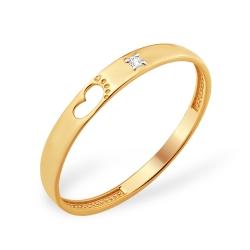 """Кольцо """"Мать и дитя"""" из красного золота 585 с фианитами"""