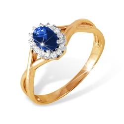 """Кольцо """"Классическое"""" из красного золота 585 с бриллиантами, сапфирами"""