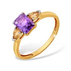 """Кольцо """"Микс"""" из красного золота 585 с аметистами, фианитами"""