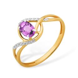 """Кольцо """"Линии"""" из красного золота 585 с аметистами, фианитами"""