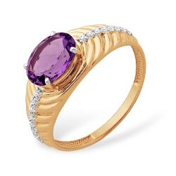 """Кольцо """"Фактурное"""" из красного золота 585 с аметистами, фианитами"""
