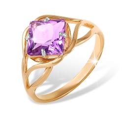 """Кольцо """"Линии"""" из красного золота 585 с аметистами"""