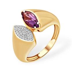 Кольцо из красного золота 585 с аметистами, фианитами