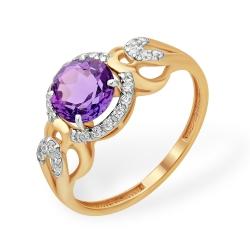 """Кольцо """"Фантазийное"""" из красного золота 585 с аметистами, фианитами"""