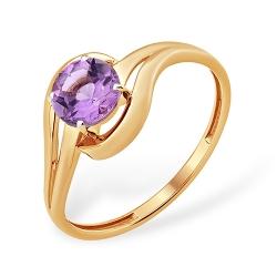 Кольцо из красного золота 585 с аметистами